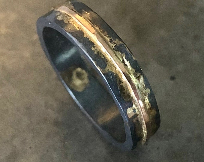 14K Rose Gold Sterling Silver Mens Ring