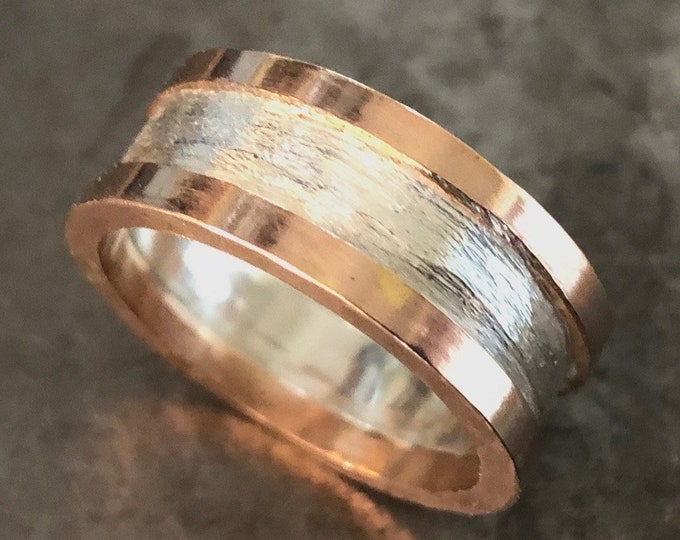 Size 8.5 Unisex Wedding Band 14K Rose Gold Sterling Silver