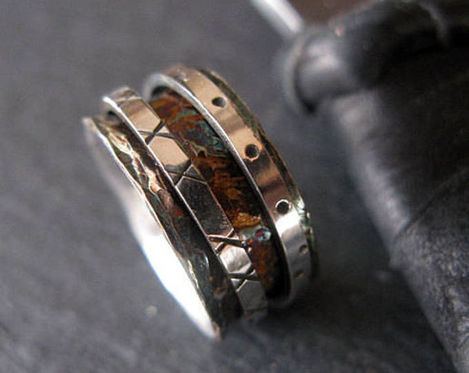 Size 6 1/4 Spinner Ring 9.5mm Oxidized Sterling Silver