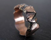 Hand Carved 14K Rose Gold Custom Wedding Band 7mm Hammered Mens Gold Ring