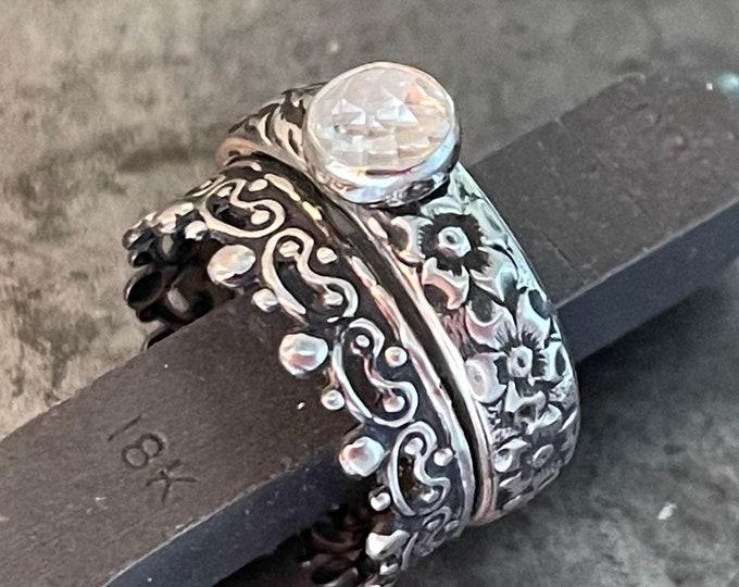 White Topaz Vintage Wedding Ring