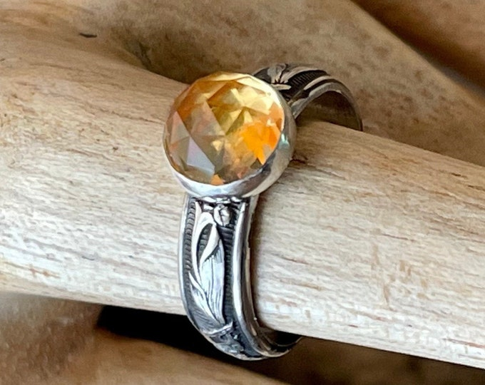 Citrine Ring Sterling Silver Round Rose Cut 8mm Antique Style Engagement Ring Promise Ring Floral Wedding Band Vintage Wedding Ring