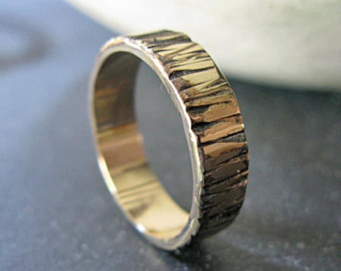14K Gold Mens Wedding Band 6mm Bark Ring