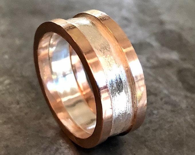 Unisex Wedding Band 14K Rose Gold Sterling Silver