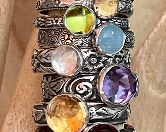 Gemstone Stacking Ring Mothers Ring Vintage Wedding Band Carved Floral Ring Design Your Own Amethyst Citrine Tourmaline Emerald Topaz