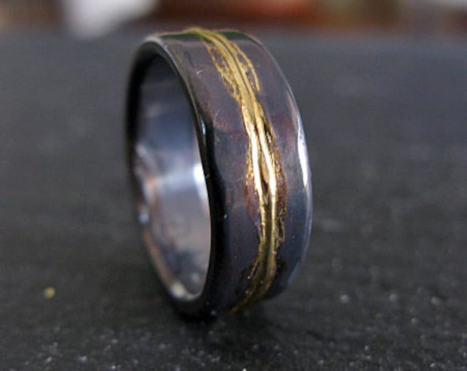14K Yellow Gold Sterling Silver Mixed Metal Ring Custom Wedding Band 8mm Hammered Mens Ring Oxidized Silver