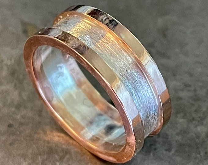 Mixed Metal Wedding Band 14K Rose Gold Sterling Silver
