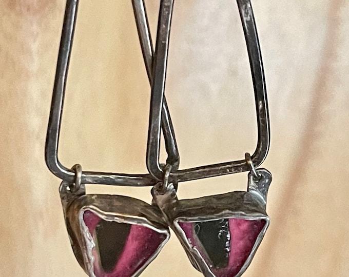 Watermelon Tourmaline Earrings Triangle Oxidized Silver Earrings Modern Earrings OOAK Unique Mismatched Artisan Asymmetrical Metalsmith