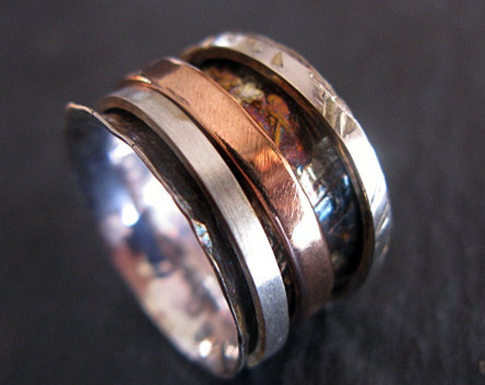 Size 6 Spinner Ring 14K Rose Gold Oxidized Silver Gold 14mm Spinner Sterling Silver Ring Statement Ring Rustic Wedding Band Artisan Ring 14k