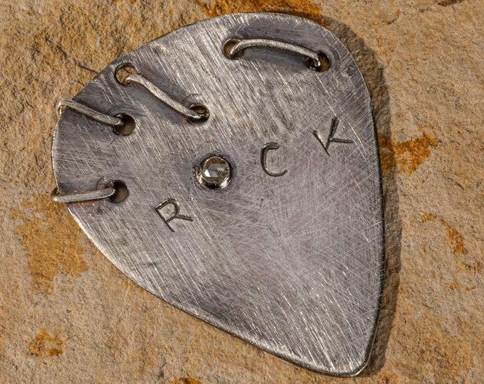 Diamond Guitar Pick Personalized Sterling Silver Custom Guitar Pick Customized Guitar Pick Handmade Genuine Diamond Musician Gift