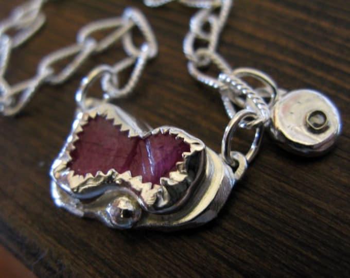 Raw Ruby Necklace Diamond Charm 17 inch Handmade Jewelry Genuine Ruby Crystal Fine Silver Pebble Rose Cut Diamond Sterling Silver