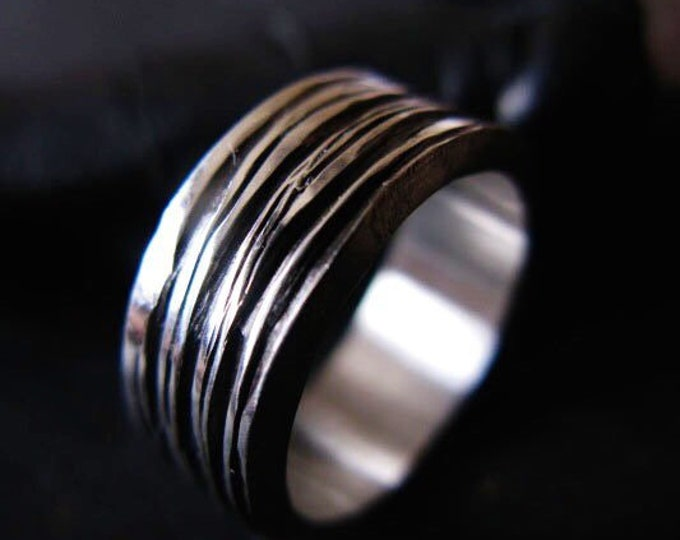 Ribbon Style Hand Carved Silver Ring
