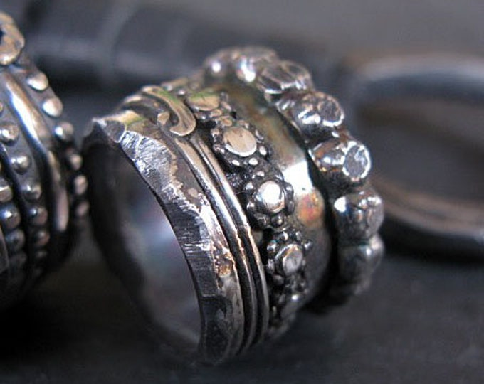 Goth Wedding Band Size 7 Sterling Silver