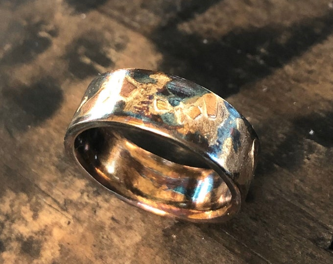 Mixed Metal Ring 7mm Textured Finish