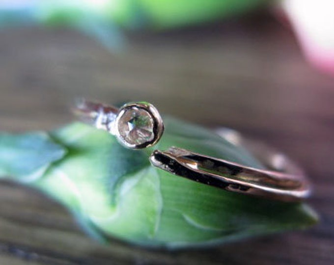 Diamond Promise Ring Adjustable Ring Rose Cut Diamonds .04 carats 14k Rose Gold Band 14K Gold Ring Organic Feminine Stacking Anniversary