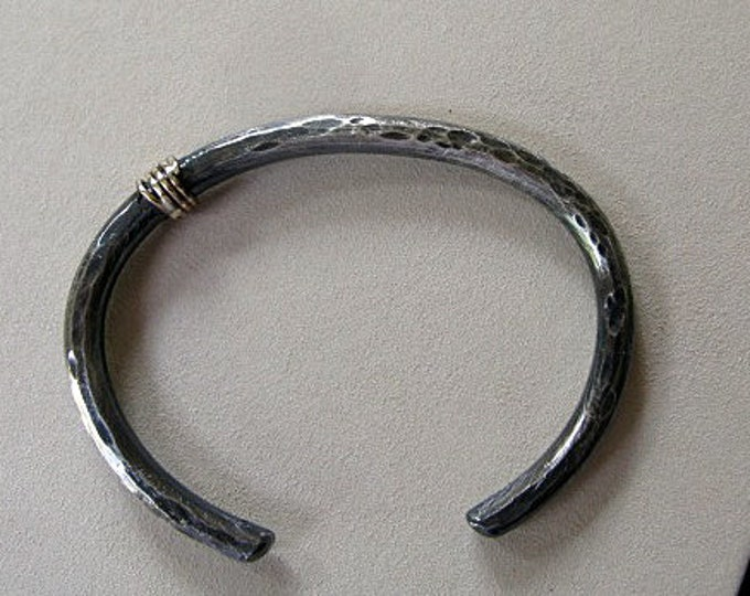 Mens Cuff Bracelet 5mm Hammered Silver and Gold