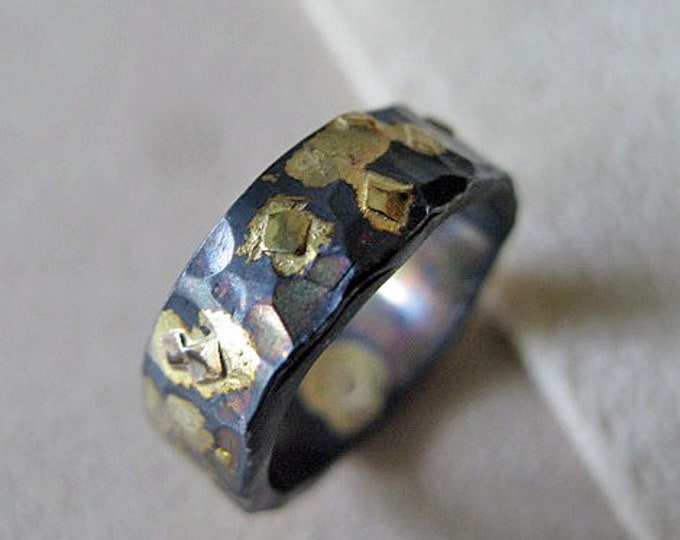 6MM Mens Wedding Band Oxidized Silver and Gold