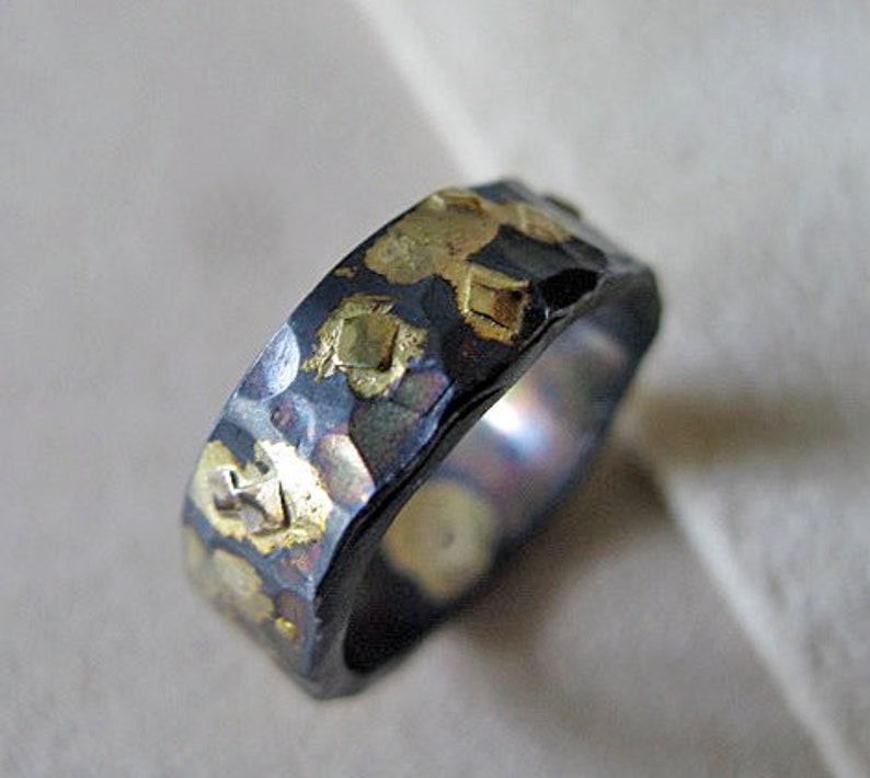 6mm Mens Wedding Ring Black Gold Ring Rustic Mens Wedding Etsy
