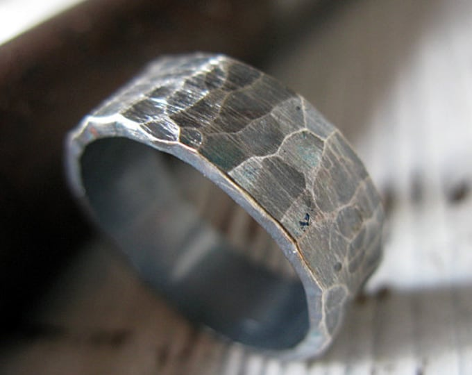 Hammered Sterling Silver 8mm Mens Wedding Band