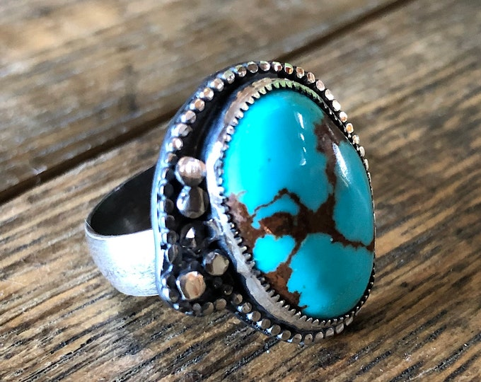 Natural Turquoise Ring with Diamond Accent Size 9 Sterling Silver Southwest Jewelry Boho Ring