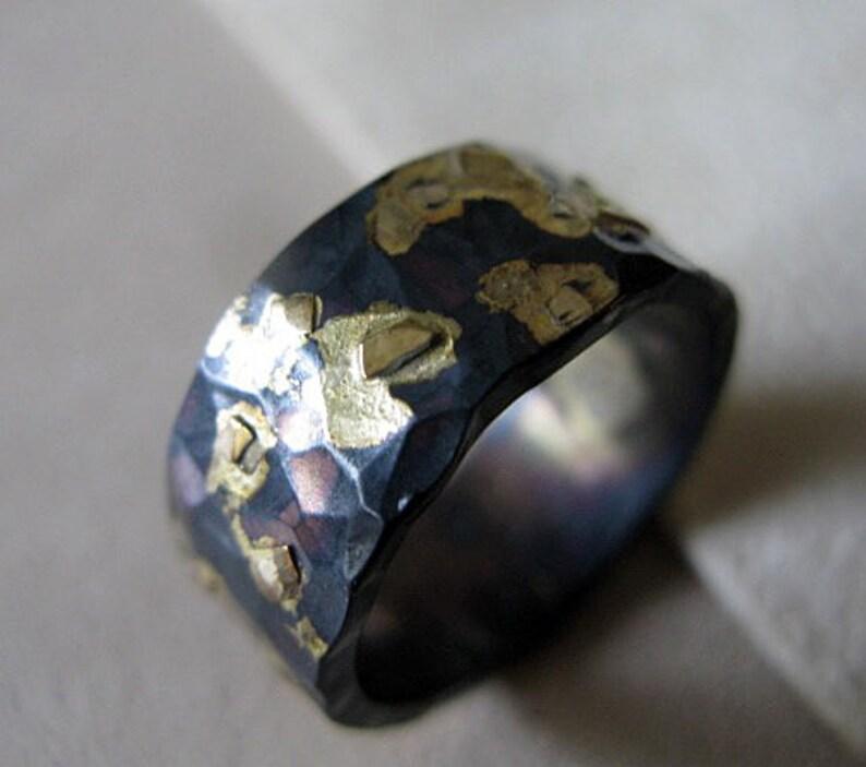 Mens Wedding Ring Black Gold Ring Rustic Mens Wedding Band Etsy