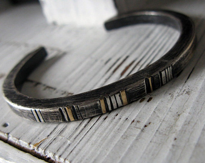 Silver and Gold Mens Cuff Bracelet