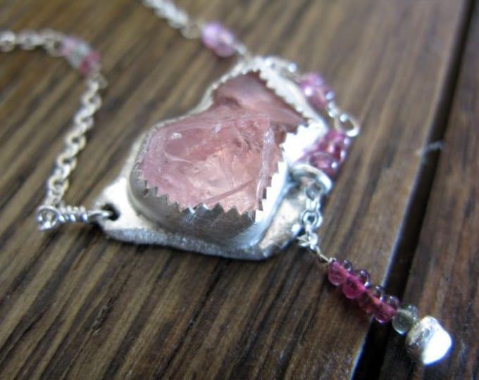 SALE Morganite Raw Pink Tourmaline Rough Gemstone Necklace Sterling Silver Tourmaline Unique Boho Rustic Rough Morganite Girlfriend Gift