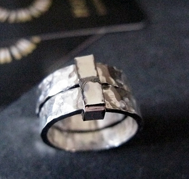 Hammered Sterling Silver Mens Ring Sealed With a Kiss Double Band Ring Mens Wedding Ring Men Wedding Band Mens Sterling Silver Band Viking