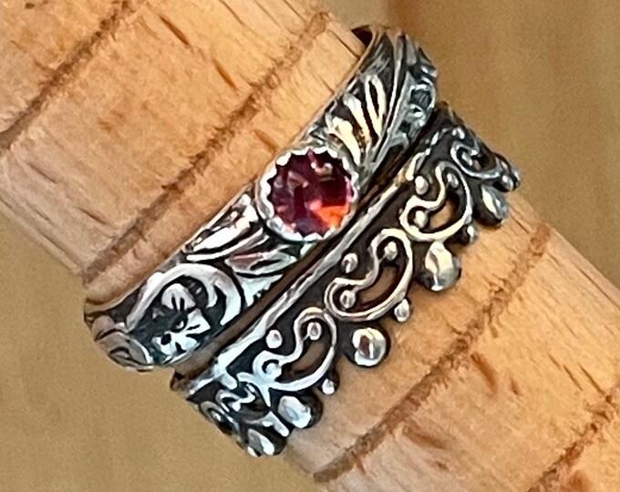 Pink Tourmaline Ring Vintage Wedding Band Engagement Ring Sterling Silver Pink Tourmaline Wedding Ring Gemstone Stacking Ring Promise Ring