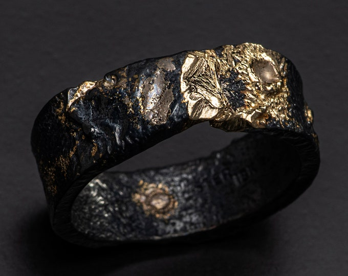 8mm Oxidized Silver and 18K Yellow Gold Handmade Ring