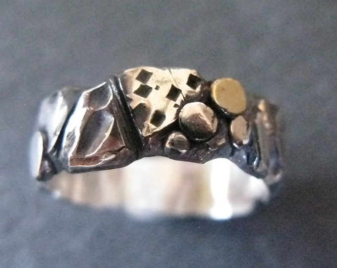 Mens Wedding Band Gold and Silver Pebble Ring