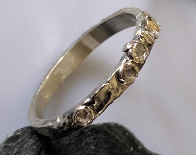 18K White Gold or Sterling Silver Rose Cut Diamond Ring Organic Alternative Wedding Band OOAK Wedding Band Unique Wedding Band