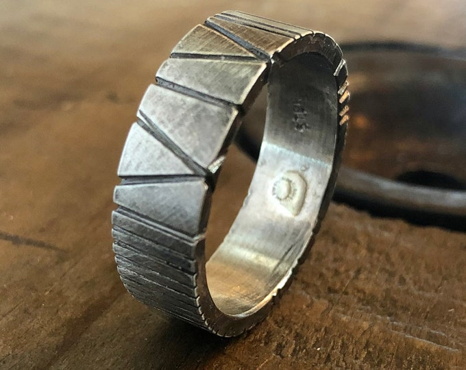 Hand Carved Silver Ring Southwestern Style 8mm
