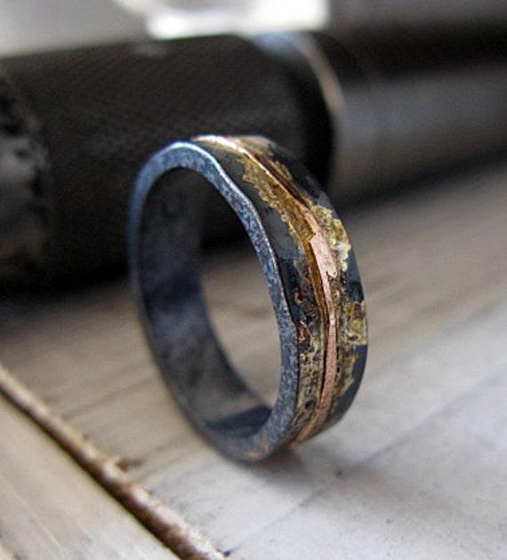 Mens Wedding Band 5mm Mens Wedding Ring Oxidized Rustic Ring Unique Wedding Band Viking Wedding Ring Mens Wedding Band Rose Gold Black Ring
