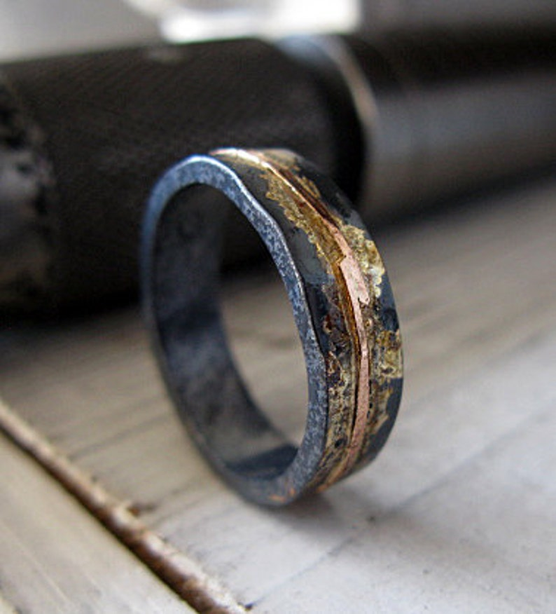 Mens Wedding Band.Mens Wedding Band 5mm Mens Wedding Ring Oxidized Rustic Ring Unique Wedding Band Viking Wedding Ring Mens Wedding Band Rose Gold Black Ring