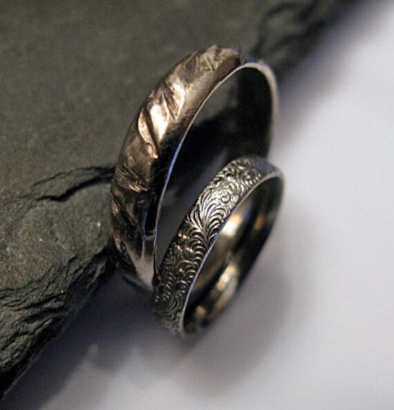 Viking Wedding Ring Sets: Items Similar To Black Rhodium Wedding Band Set Viking
