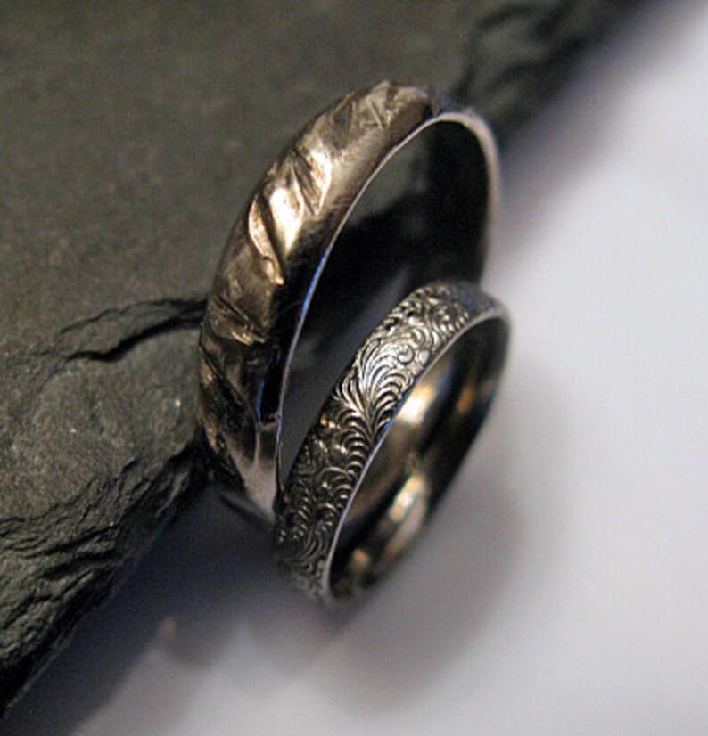 f1ba5eca96 Black Rhodium Wedding Band Set Viking Ring Rustic Wedding Ring | Etsy
