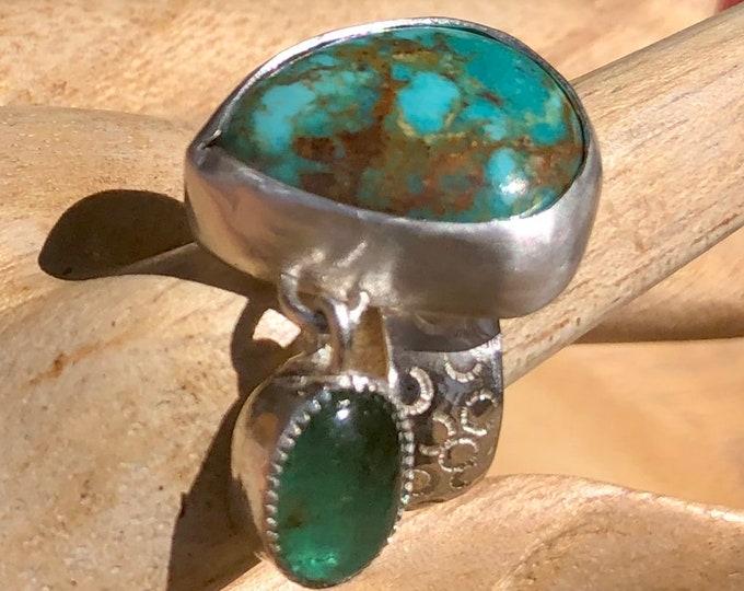 Emerald Turquoise Dangle Ring Sterling Silver Hand Stamped Shank Cabochon Bezel Set Modern Ring Statement Ring Turquoise Ring Modern OOAK