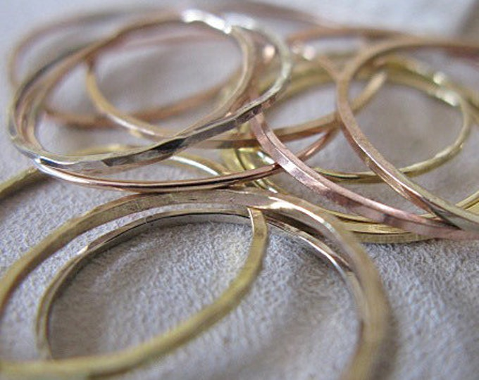 Solid 14K Gold Wedding Band Skinny Gold Ring Stacking