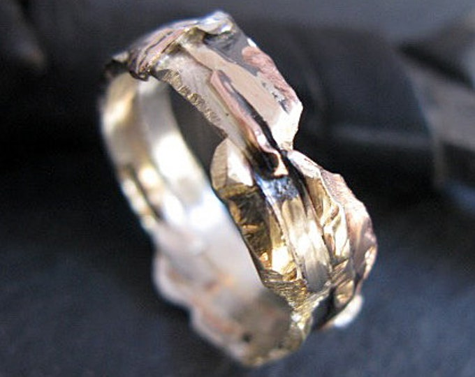Unconventional Wedding Band 14K 18K Gold Rose Gold White Gold Fine Silver