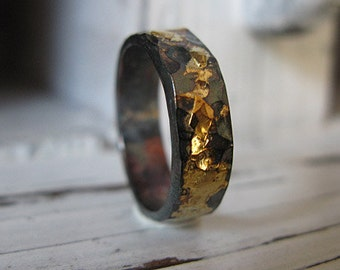 14K 18K 22K Yellow Gold Sterling Silver Mixed Metal Ring Custom Wedding Band 6mm Hammered Mens Ring Oxidized Silver