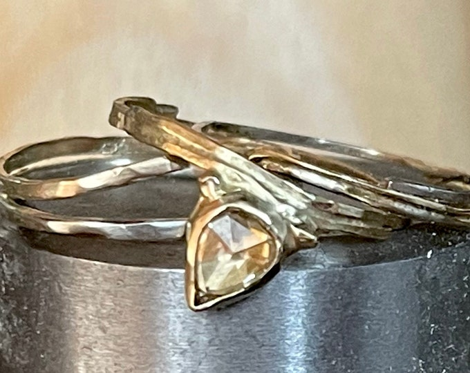 Genuine Diamond Engagement Ring Set Organic 14K Yellow Gold White Gold Rose Gold OOAK Wedding Set Size 5 1/2 Pear Shape Rose Cut Diamond