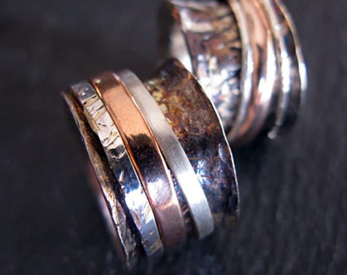Unique Spinner Wedding Band Set 14K Rose Gold Oxidized Silver