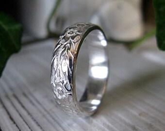 Sterling Silver Custom Wedding Band 5mm Unique Wedding Band Vintage Floral Carved Wedding Ring Hot Rox Vintage Wedding Band Renaissance Ring