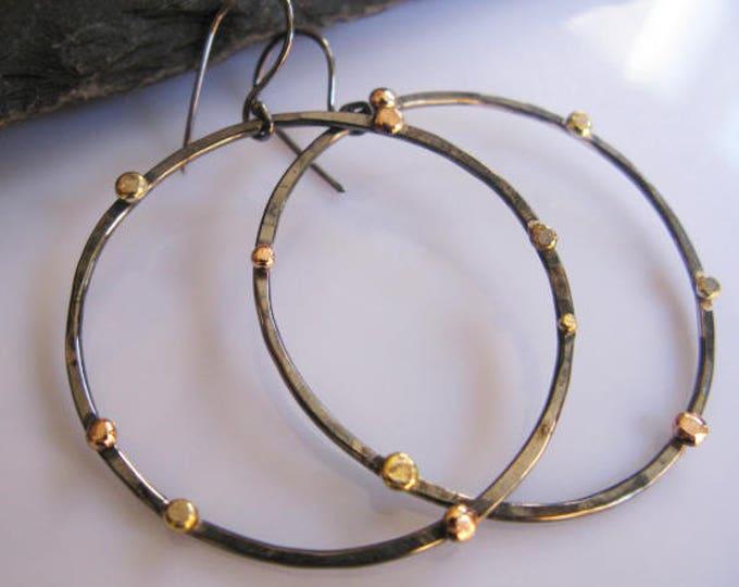 Large Hoop Earrings Rose Gold Pebble Black Hoops Modern Chic Designer Gold Hoop Earring Boho Earring Silver Hoop Earring 2 Inch Hoop Earring