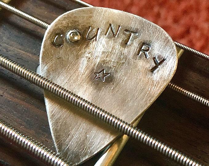 Diamond Guitar Pick Unique Sterling Silver Custom Guitar Pick Personalized Guitar Pick Handmade Guitar Pick Genuine Musician Gift