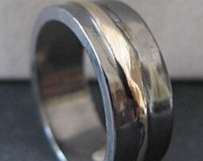 Silver Gold Ring 8mm Mens Wedding Band