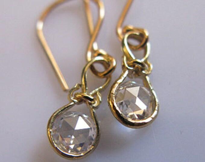 14K Diamond Earrings Rose Cut Diamonds Solid Gold VS Diamond .5 TCW Tiny Diamond Earrings Rose Cut Diamond Earrings Diamond Drop Earrings
