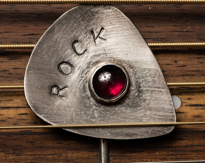 ROCK Sterling Silver Guitar Pick Your Choice of Gemstone Garnet Amethyst Peridot Blue Topaz Citrine Black Onyx Metal Pick Musician Gift