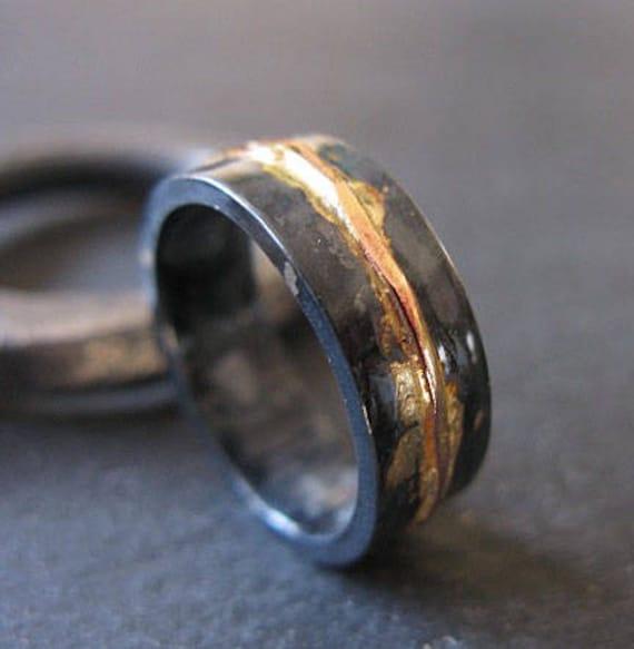 Diamond Wedding Ring Oxidized Silver /& Gold Ring Engagement Ring Mixed Metal Men/'s Wedding Ring Handmade Wedding Ring Unique Engagement